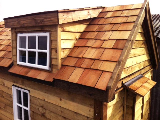 Cedar roof and dormer window